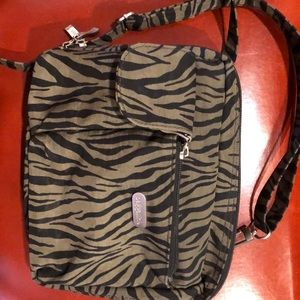 Baggallini medium zebra stripe crossbody bag nwot